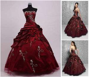 Embroidery Quinceanera dress Prom Ball Gown UK SZ 6.8.10.12.14.16
