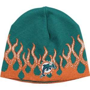Miami Dolphins Flame Cuffless Knit Hat