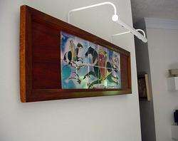 ABSTRACT STYLIZED MID CENTURY MODERNIST LARGE TILE WALL ART *BATTLE