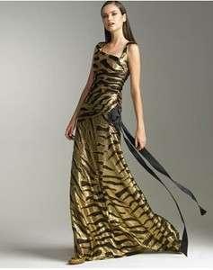 TULEH Metallic Gold Animal Print Gown Dress 6 NWT $2995