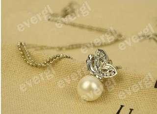 Set Of Korean Silver Full diamond Butterfly Pearl Stud Earrings