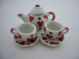 Set of 51 Green Red Heart Coffee Cup&Scalloped Plate&Teapot Dollhouse
