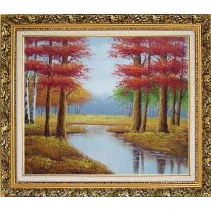 Autumn Colorful Scenery Landscape Oil Painting, with
