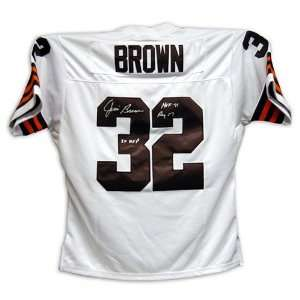 Jim Brown Autograph Cleveland Browns White Football Jersey w/Stats