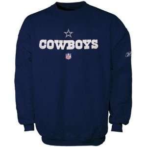 Reebok Dallas Cowboys Navy Blue Team Marks Crew Sweatshirt