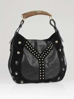 Yves Saint Laurent Black Suede/Leather Studded Y Mombasa Horn Bag