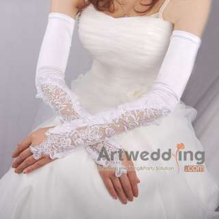 White HI Q Satin Lace Pearl Wedding Party Bridal Opera Long Fingerless