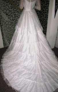 Romantic Vtg Bridallure 4 Ruffle Lace Layer Wedding Dress, Size 8