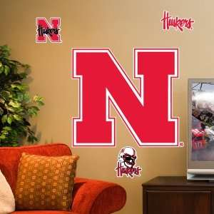 NCAA Nebraska Cornhuskers Team Logo Vinyl Wall Decal Set