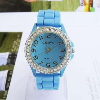 Classic Blue Geneva Silicone Rubber Quartz Crystal Sports Wrist Watch