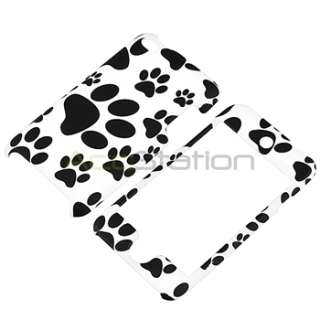 For iPod touch 4 4th G Gen Black/White Paw Rubber Hard Case+Privacy