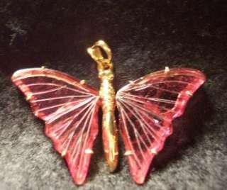 Estate Carved Pink Tourmaline 18K YG BUTTERFLY Pendant