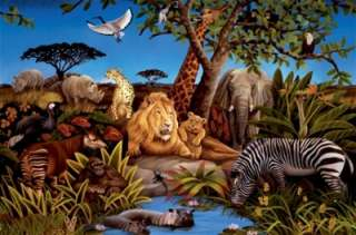 New XL JUNGLE ANIMALS WALLPAPER MURAL Kids Bedroom Animal Decor Room