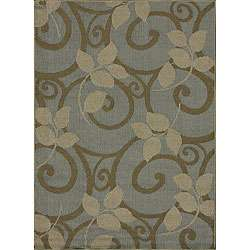 Roma Indoor/ Outdoor Blue Floral Rug (75 x 105)