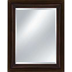 Rectangular Framed Reddish Brown Wood Mirror