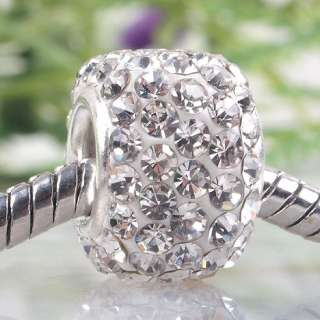 White Swarovski Crystal 925 Silver Charm Beads Fit Bracelet