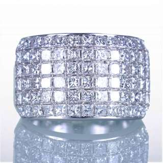 78CT WHITE GOLD 13MM PRINCESS DIAMOND MICRO PAVE ANNIVERSARY BAND RING