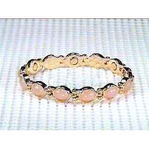 Simulated Rose Quartz   Magnetic Therapy Bracelet Jewelry