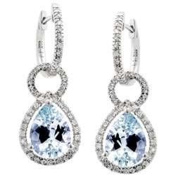 14k Gold Pear Shaped Aquamarine and Diamond Earrings