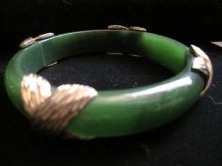 translucent, jade green, Lucite, bangle, bracelet with gold accents