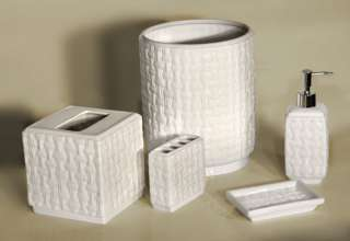 5PC WHITE CERAMIC BASKET WEAVE BATH ACCESSORY SET