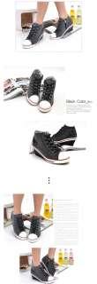 Women Canvas Wedge Heels Sneakers Shoes Pink/Purple/Black US 5.5 8