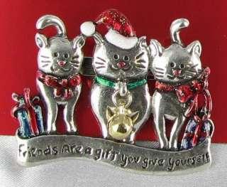 New Christmas Xmas Cats Pin brooch Bell Kittens Xmas Friends Kitty