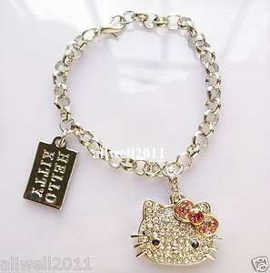 Crystal Bling Hello Kitty Bracelet Rhinestone Fashion Jewelry SUPER
