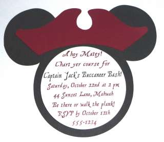 MICKEY MOUSE OR MINNIE MOUSE PIRATE BIRTHDAY PARTY INVITATION