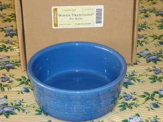 Longaberger Cornflower Blue Woven Traditions Pottery Pet Bowl