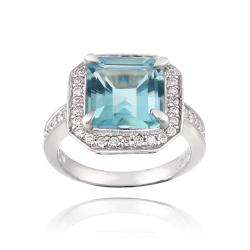 Glitzy Rocks Sterling Silver Blue Topaz and Cubic Zirconia Square Ring