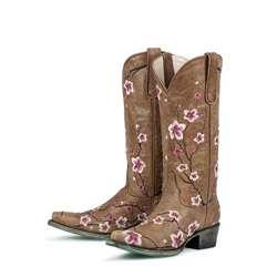 Lane Boots Womens Brown/ Pink Sakura Cowboy Boots