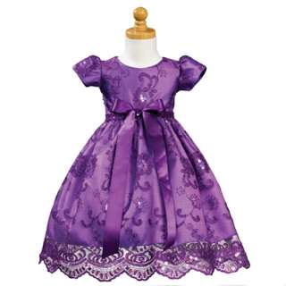 Lito Purple Embroidered Sequin Tulle Christmas Dress Toddler Girls 3T