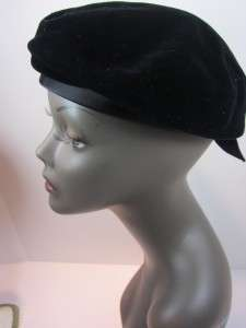 Vintage Ladies Hat 1960s Beret Black Velvet Hand Sewn Satin Ribbon