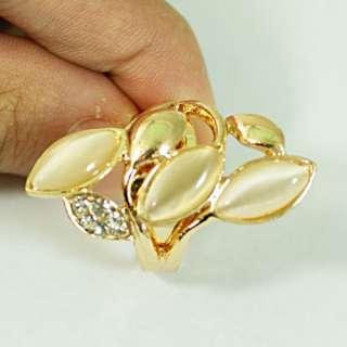 Leaf Shape 18K GP Gold Plated Gemstone Zirconia CZ Adjustable Ring