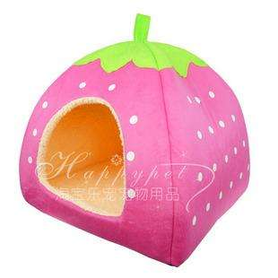 PINK strawberry pet dog/cat bed house kennel cute