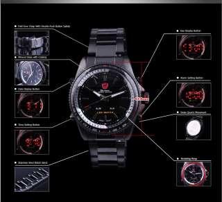 Mens Shark Fashion Military Army Sports Red LED Analog Quartz Wrist