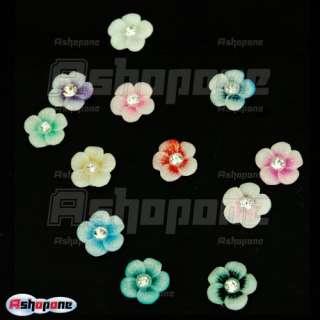 60 Acrylic Flower Rhinestones For Nail Art Decorations