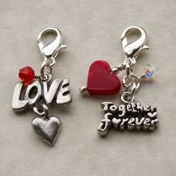 JonCar Fashion Forward Pewter Together Forever/ Love Charms (Set of 2)