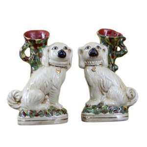 Animal Pattern Hand Painted Pair of Dogs Sculpture, 7.75 x