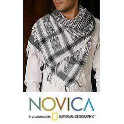 Cotton Black Houndstooth Scarf (India)