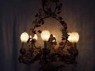 Vintage 20th Century Porcelain Chandelier Angel Roses