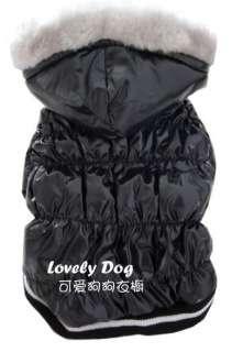 Luxury glossy TAFFETA Very Warm DOG Clothes Hoodie COAT S,M,L,XL Black