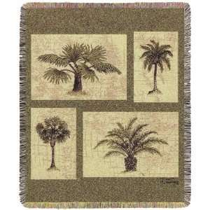 Woven Throw Blanket   Palm Tree Tropical Home Decor