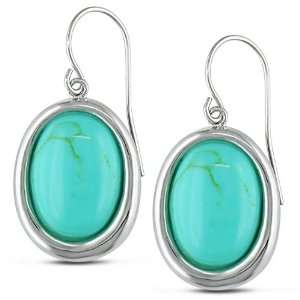 Sterling Silver Oval Cabochon Turquoise Fish Hook Earrings