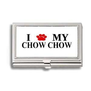 Chow Chow Paw Love My Dog Business Card Holder Metal Case