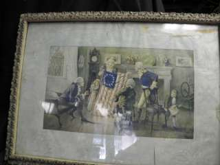 OLD VINTAGE PAINTING /PRINT OF BETSY ROSS AND THE FLAG