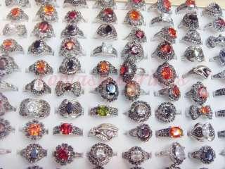 wholesale mixed Lots 50pcs fantastic CZ/Czech rhinestone ladys rings