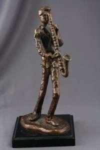 Vintage Bronze Jazz Musician Saxophone Player Sculpture