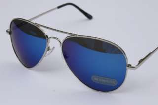 MEN 400UV AVIATOR MIRROR BLUE SUNGLASSES shades Silver